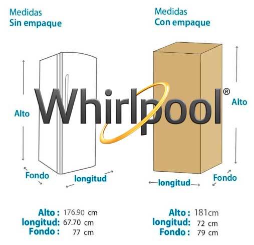 refrigerador whirlpool no frost medidas
