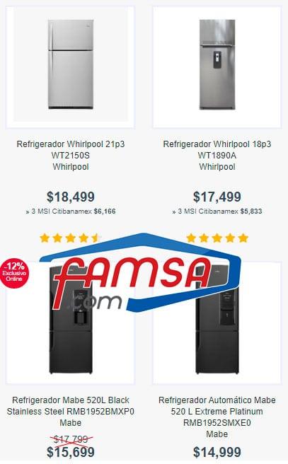 precios de refrigeradores en famsa