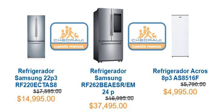 precios de refrigeradores linea blanca en chedraui