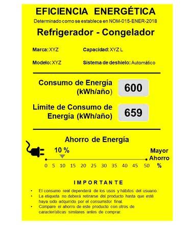 Etiqueta NORMA Oficial Mexicana Eficiencia Energética refrigeradores